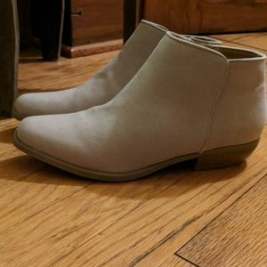 NWOT Tan booties with gold heel- western flare